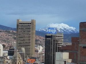 A rare glimpse of the mountain - shame about the Tigo sign