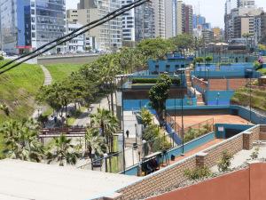 tennis club spills down the hill