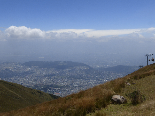 Quito far below the Pichincha volcano in Quito