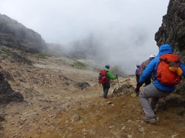 heading back down the volcano in Ecuador