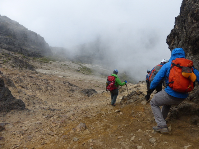 heading back down the volcano in Ecuador