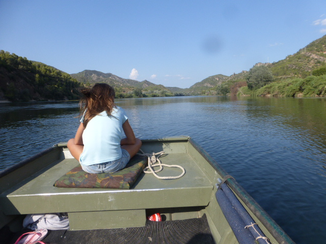 girl on boat on River Ebro