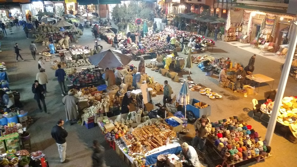 one of the busy squares in Marrakech at dusk