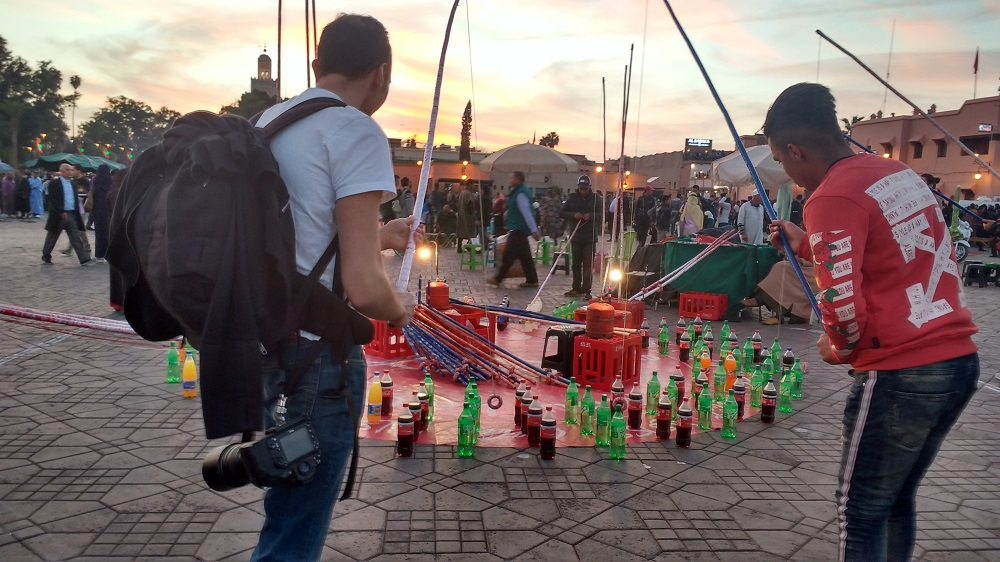 simple entertainment in the Jemaa el Fnaa square in Marrakech