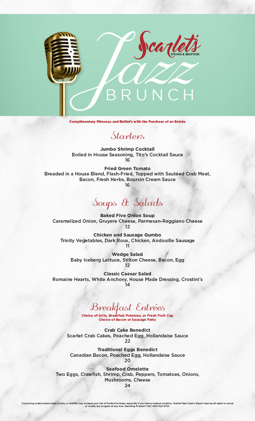 Jazz Brunch Menu - complimentary mimosas and bellinis with purchase of an entree. Biloxi casino resort.