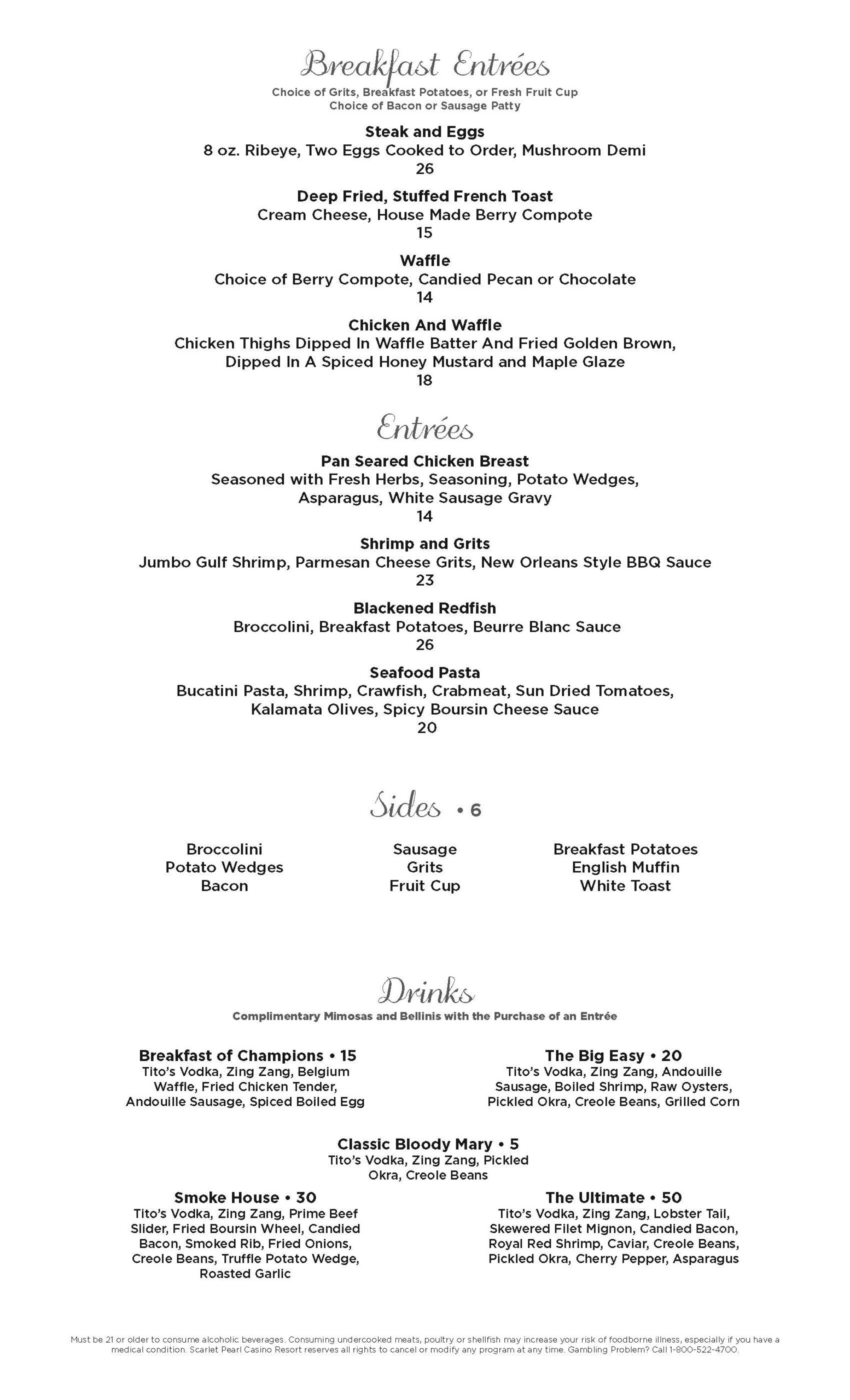 Scarlet Pearl Jazz Brunch menu
