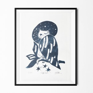 night owl lino print