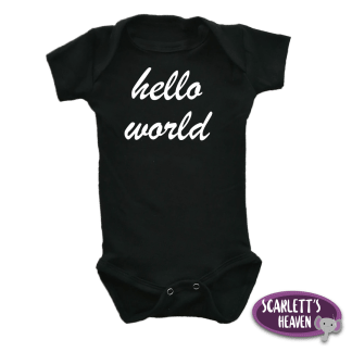 Baby Grow - Black - Hello World