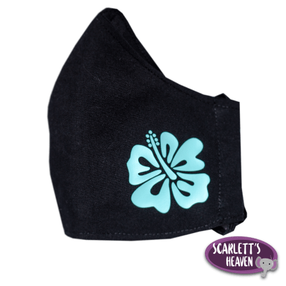 Face Mask - Black Cotton - Turquoise Flower Print