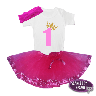 Tutu Set - 1 Year Crown - Dark Pink Tutu Pink Print