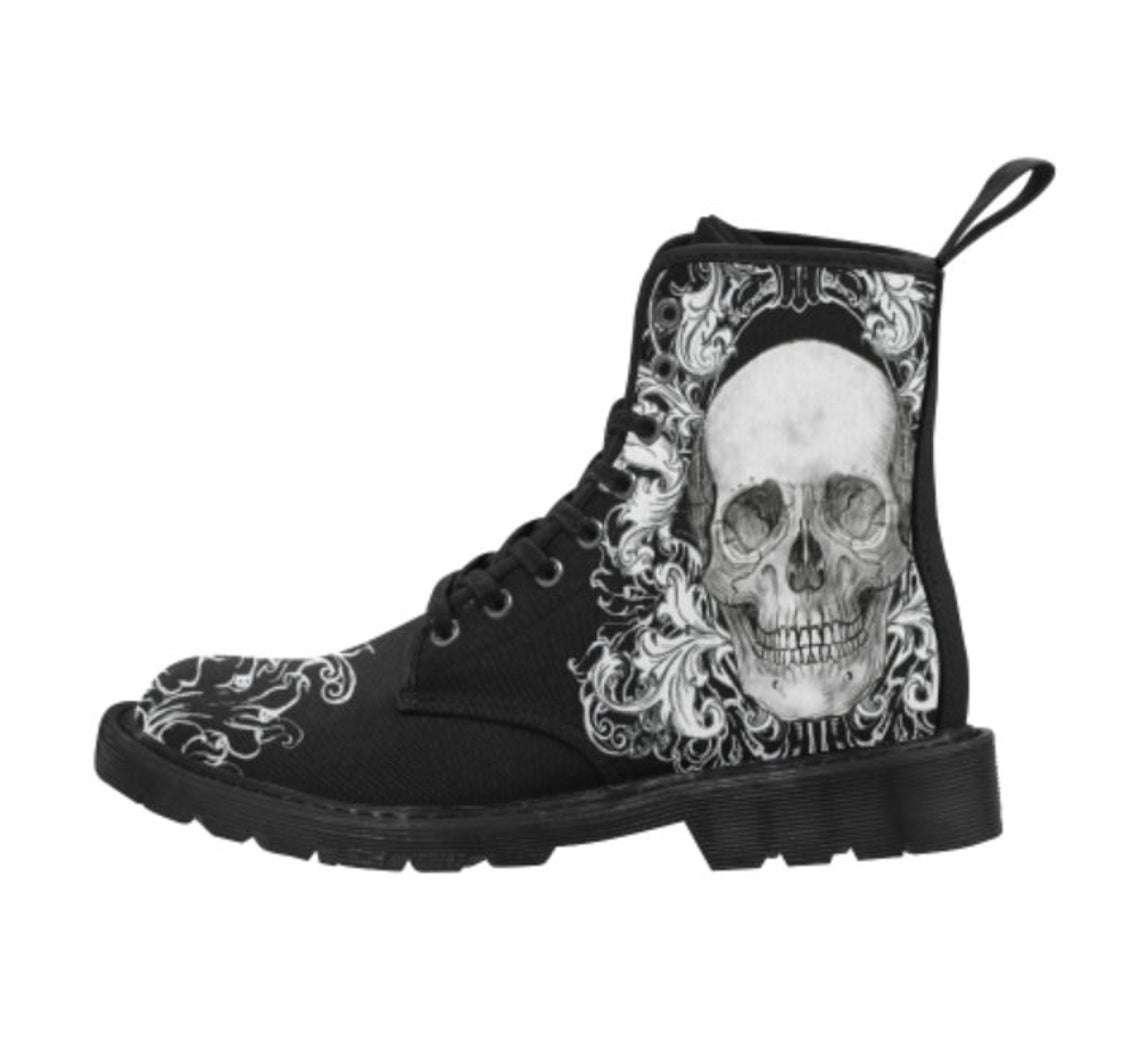 punk skull boots