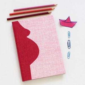 Pink weiß gemustertes Schwangerschaftstagebuch retro