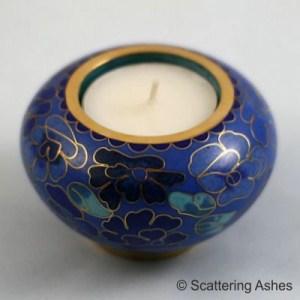 Cloisonné Memorial Tea Light Holder: Spring Blue with tea light