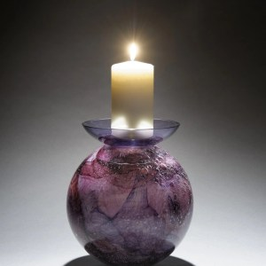 Memorial Glass Candleholder - Amethyst