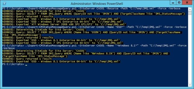 Migrate Status Message Queries in ConfigMgr 2012 with