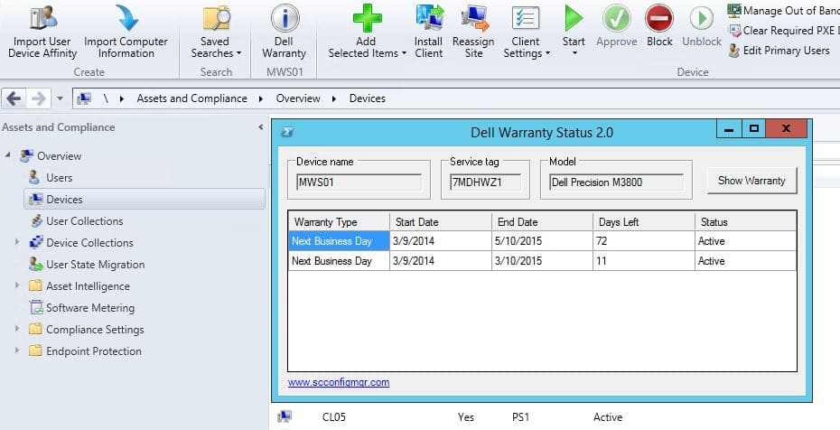 Dell Warranty Status 2 0 console extension for ConfigMgr