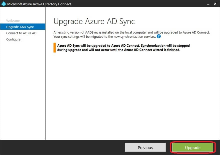 How to upgrade Azure Active Directory Synchronization tool to Azure