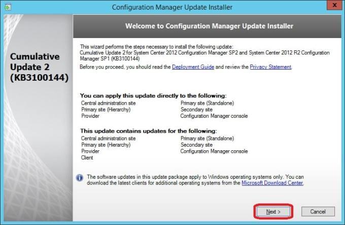 Install ConfigMgr 2012 R2 SP1 CU2 in your hierarchy