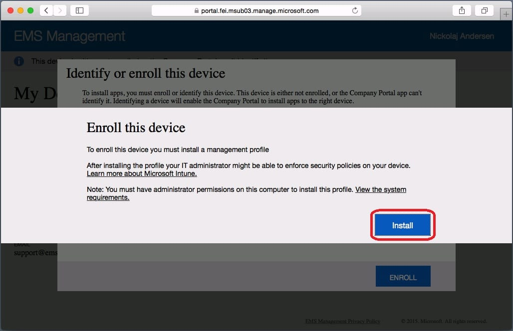 How to Enroll an OS X device in Microsoft Intune | | System
