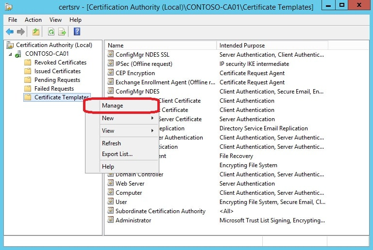 Prepare your environment for scep certificate enrollment with logon to your ca server and open the certificate authority management console 2 right click on certificate templates and select manage yelopaper Choice Image