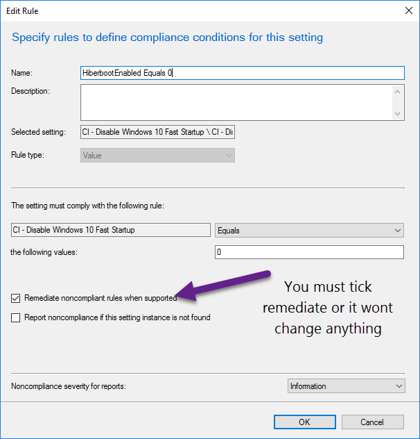 Manage Windows 10 Fast Startup with SCCM Compliance Baseline