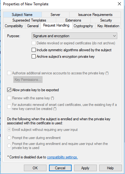 How to setup co management part 2 create certificates system in request handling choose allow private key to be exported yelopaper Choice Image