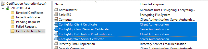 How to setup co management part 2 create certificates system choose the four certificate templates we just created you should able to see something like this yadclub Image collections