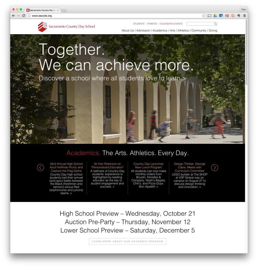 "The new site that Wroten and Foehl designed is a ""living document,"" that's easier to edit than the old site. Instead of containing only information, the site can now tell a story for prospective students."