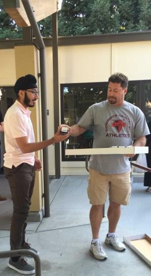 Senior Jag Lally receives his ring from athletic director Matt Vargo.
