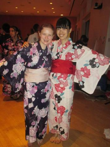 Adams and her roommate, Chisato, wear yukata (light summer kimonos) at the Japanese culture festival.