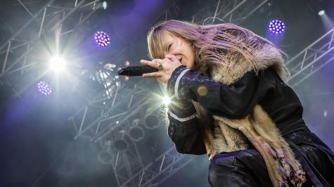 "Masha ""Scream"" Arkhipova, the singer for the Russian band, Arkona, performs."