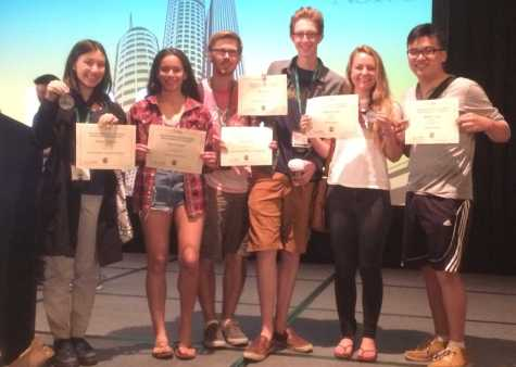 Senior Amelia Fineberg, sophomore Katia Dahmani and seniors Adam Ketchum, Jake Sands, Madison Judd and Manson Tung received ratings for their entries in write-off competitions at the JEA/NSPA Journalism Convention, April 17.