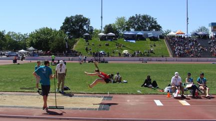 Freshman Heidi Johnson competes in the long jump at the Sacramento Meet of Champions, April 30