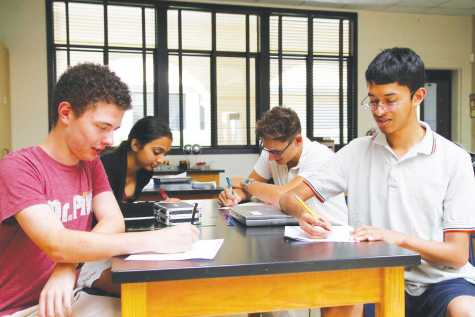 Juniors Quin LaComb, Shriya Nadgauda, Zane Jakobs and Arvind Krishnan are four of six juniors who will complete AP Calculus BC, the highest math course offered at Country Day, this year.