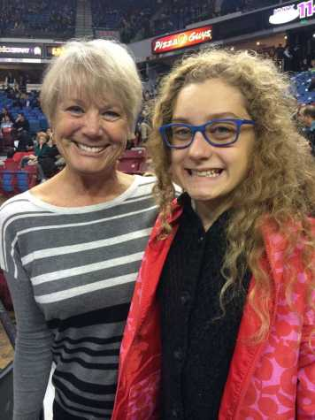 Coach Debbie Meyer and freshman Rebecca Waterson attend a Sacramento Kings game on Nov. 9, 2015. Meyers was honored at the game for her contributions to female athletics.