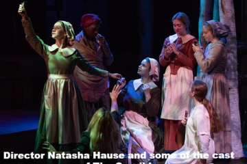 "Senior Monique Lonergan (far left) in ""The Crucible."" (Photo used by permission of Lonergan)"