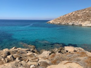 Swimming in the blue waters of Greece