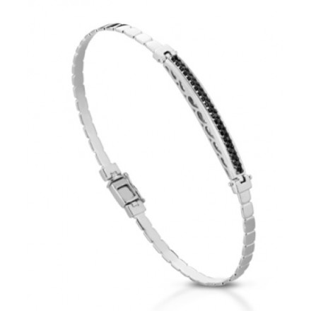 Bracciale Uomo Oro Bianco 18 K Con Diamanti Naturali Neri Aaa Premium 021 Carati