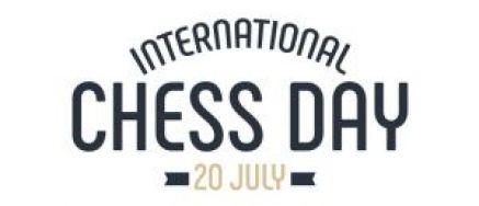 """Logo des """"Internationalen Schachtags, 20. Juli"""" (Geburtstag der FIDE)"""