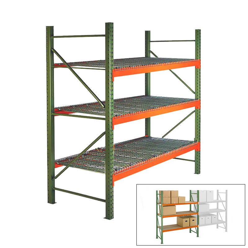 144 h x 144 w x 42 d pallet rack shelving with wire decking starter