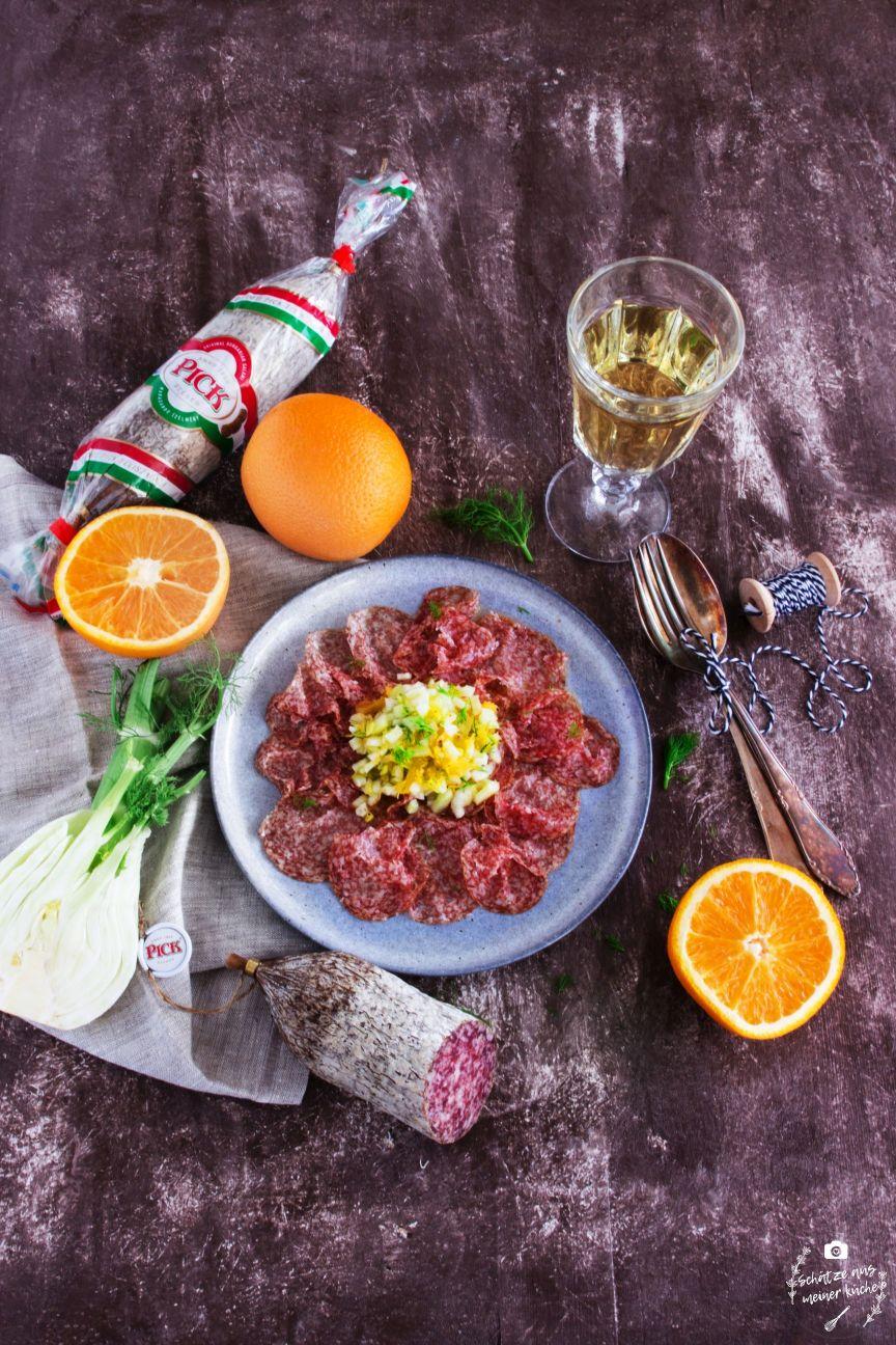 Salami Carpaccio von der PICK Original Ungarischen Salami mit Fenchel-Orangen-Tatar