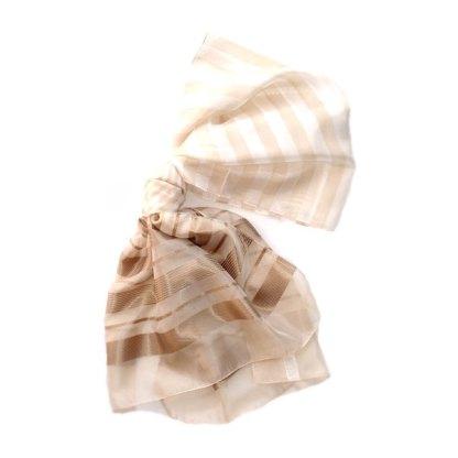 Polyester Schal in beige mit Streifen-460