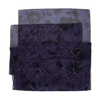 Polyester Schal in violett mit silbernen Lurex Streifen