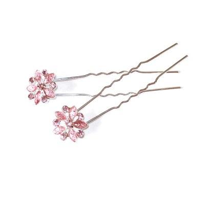 Haarnadel in lachsrosa mit Strassblüten