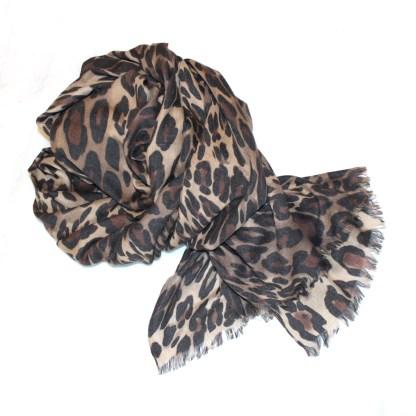 Pashmina Leopardenmuster braun (animal print)