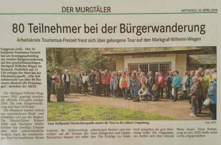 Zeitungsartikel des Badischen Tagblatts über die Bürgerwanderung vom 10.04.2019