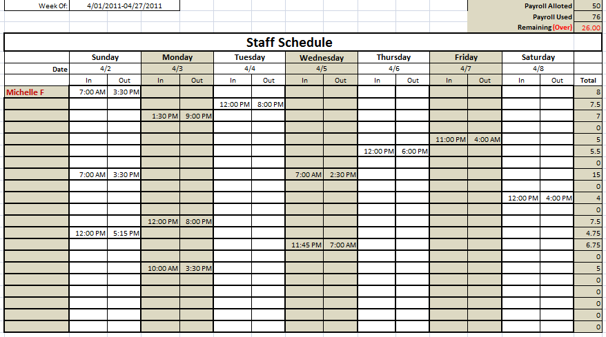 Employers use these schedules to assign hours to each of their employees and give everyone a document to reference for shift times. 6 Free Staff Schedule Templates Using Ms Excel And Ms Word