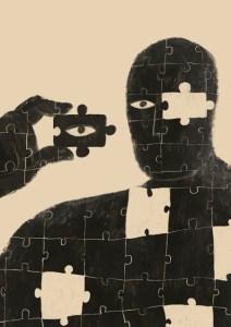 Illustrazione raffigurante un uomo puzzle. L'artista dell'opera è lliIot Illustration.