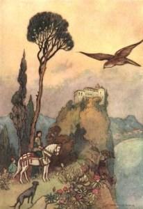 Illustrazione del re a caccia in Sole, Luna e Talia, fiaba tratta da Lo cunto de li cunti di Giambattista Basile / Fonte: Pinterest.