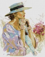 Schema punto croce gratuitoRitratto di signora con cappello e fiori (6)